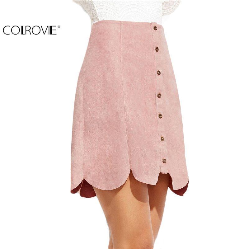 COLROVIE Women High Waist A Line Skirt Korean Women Clothing Kawaii Skirt Pink Faux Suede Button Up Scallop Panel A Line Skirt