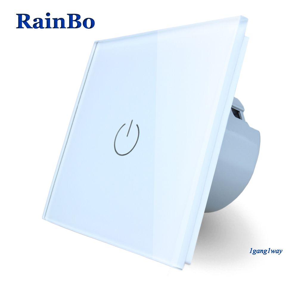 RainBo New Crystal Glass Panel Switch Wall Switch EU Touch Switch Screen Wall Light Switch 1gang1way 110~250V LED lamp A1911W/B