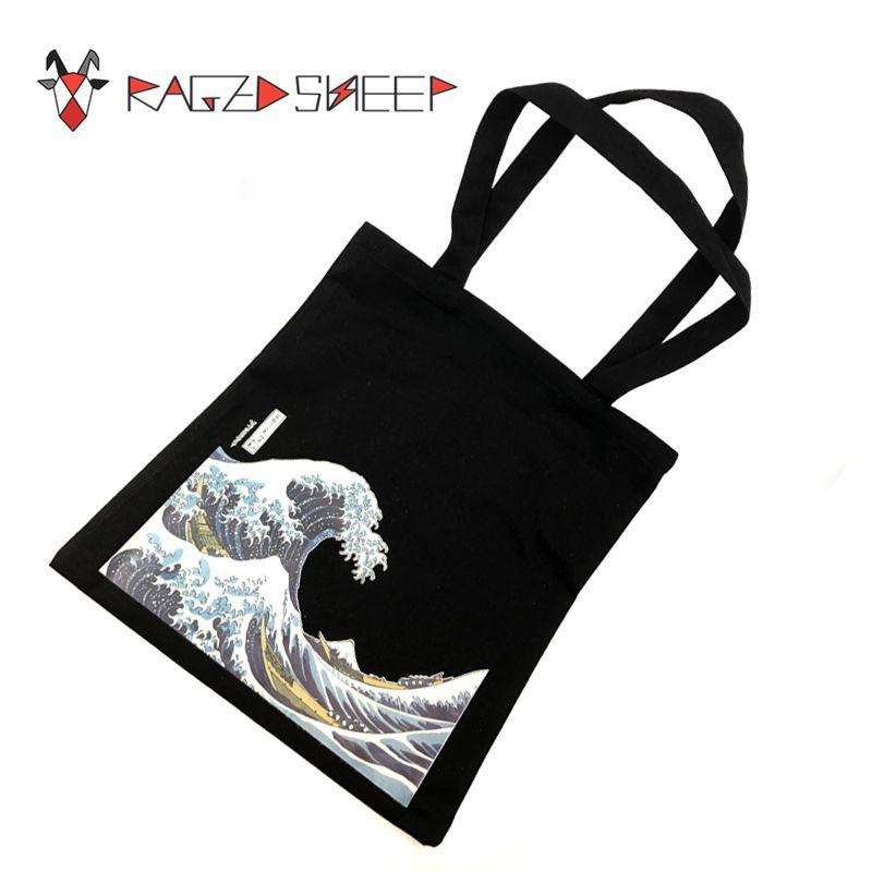 Sacs à provisions d'épicerie de coton de mode de mouton ragé pliant le sac réutilisable de prise d'eco de panier avec l'impression de vague de mer