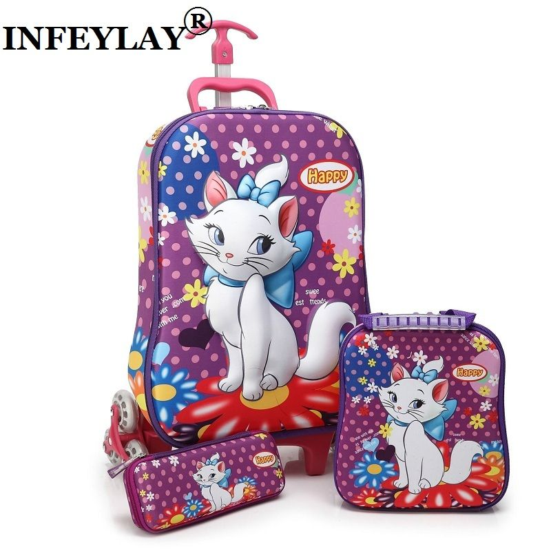Brand 3D boy anime trolley case kids Climb the stairs luggage Travel rolling suitcase girl cartoon Pull rod box child pencil box