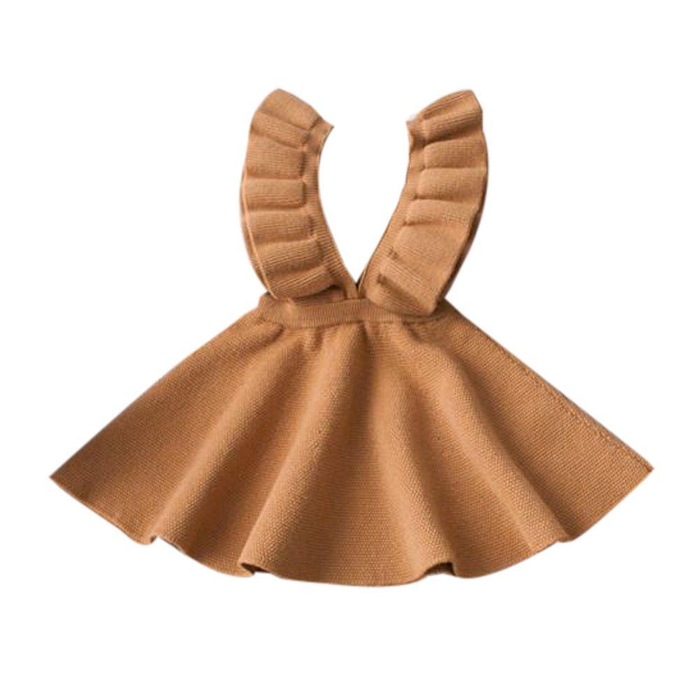 Automne Enfant Fille Vêtements Enfants Bébé Pull En Tricot Solide Sans Manches A-ligne Robe À Volants V-cou Printemps Hiver Robe #6012