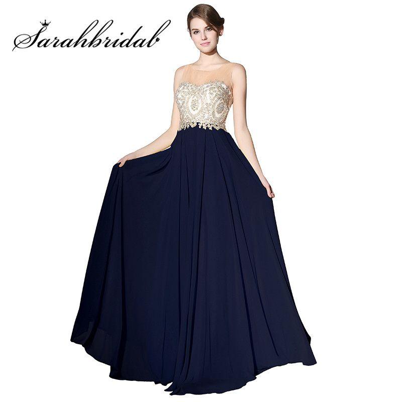 Cheap Navy Blue Long Prom Dresses 2017 Sheer Neck Chiffon A Line Embroidery Vestido Madrinha Casamento Party Evening Gowns LX356