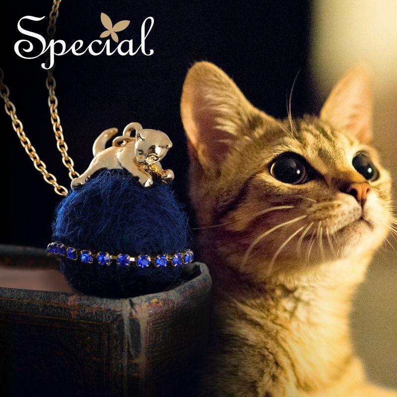 Spécial Mode Belle Chat Maxi Collier Petit Animal Long Colliers et Pendentifs Or Chats Bijoux Cadeaux pour les Femmes S1630N