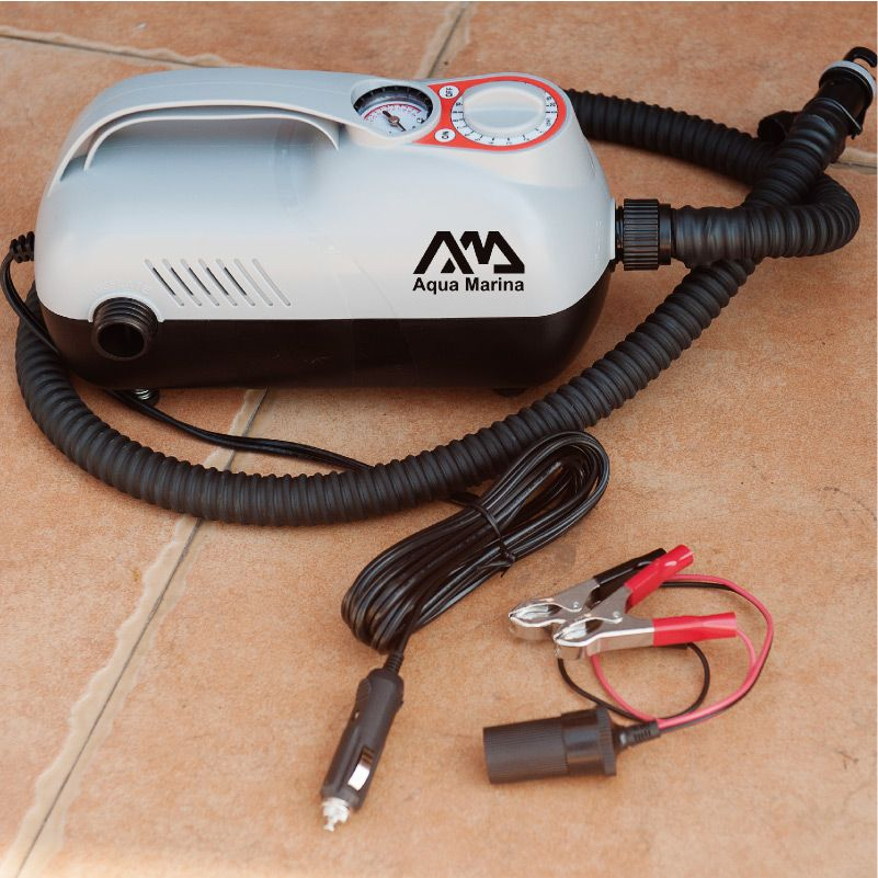 Aqua marina super auto pump electric air pump by car lighter max pressure 20psi for inflatable boat inflatable paddle board