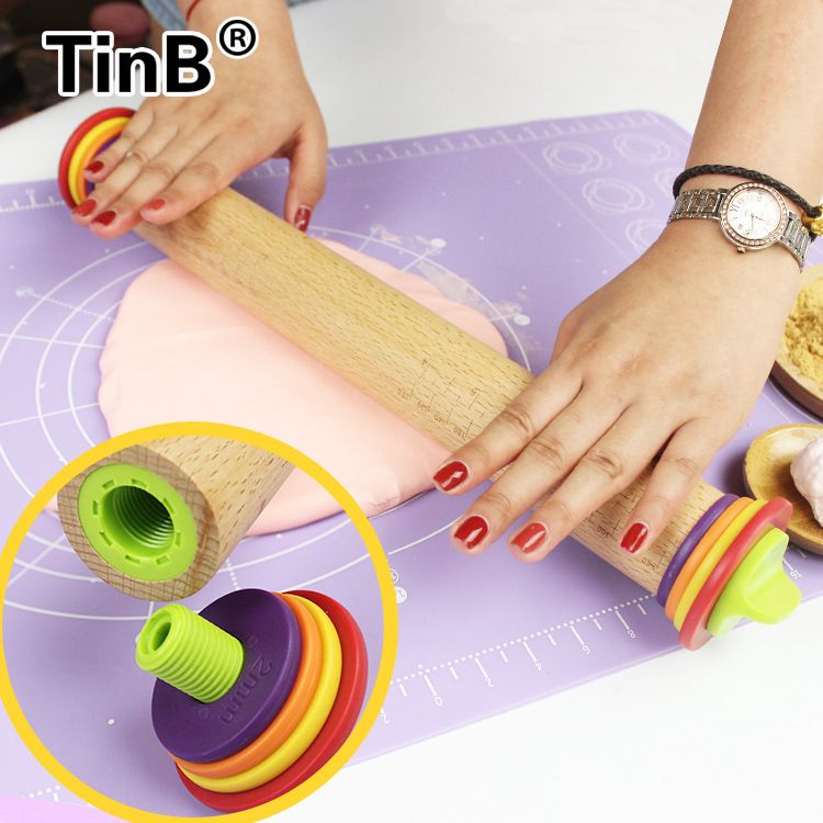 HADELI Baking Tools Adjustable Thickness with Scale Rainbow Wood Rolling Pin 4 Washers