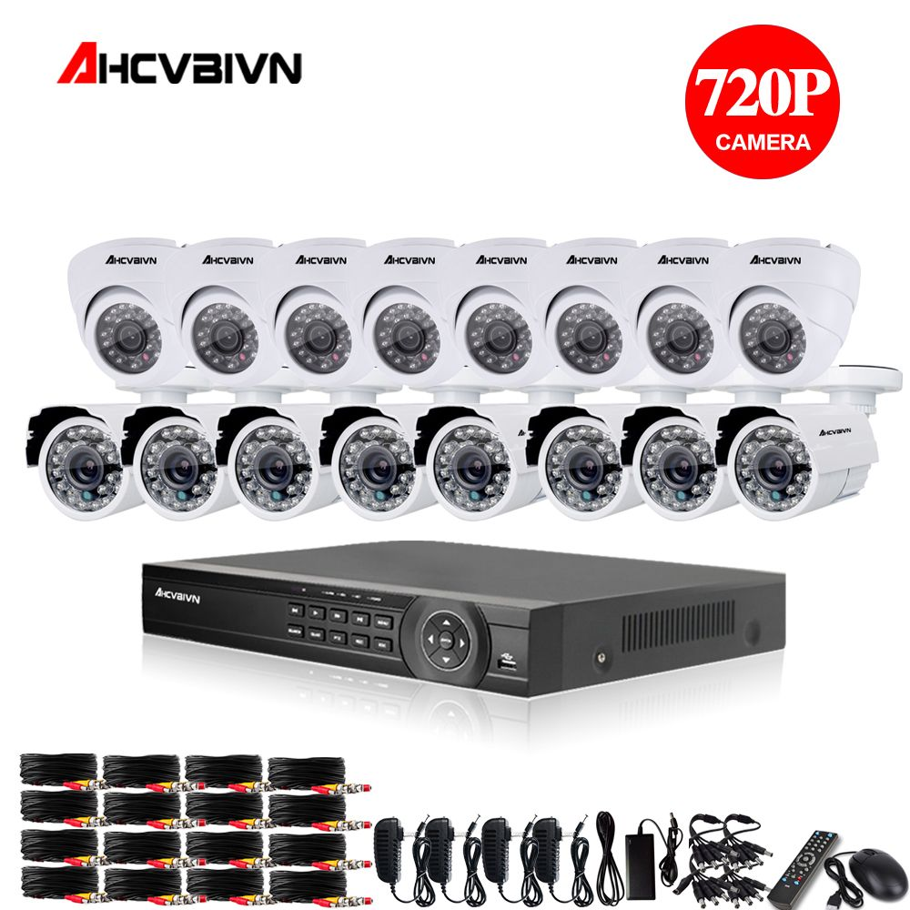 16ch AHD CCTV System 1.0MP 2000tvl DVR Kit 16CH AHD 1080P DVR 16pcs 720p CCTV indoor outdoor Camera PC&Mobile View Plug And Play