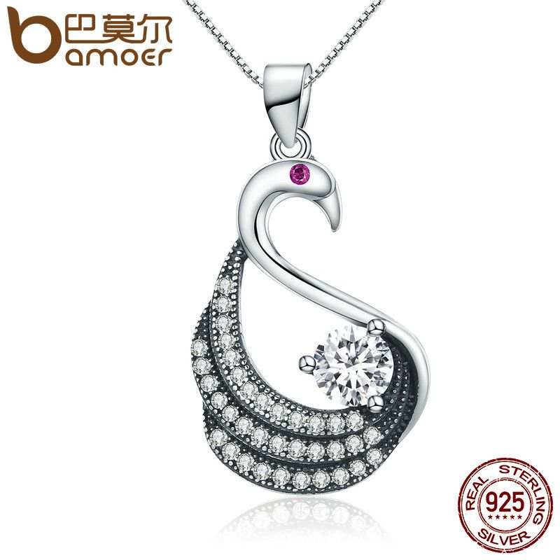 BAMOER 100% 925 Sterling Silver Dancing Swan Dazzling CZ Pendant Necklace Women Authentic Sterling Silver Jewelry Gift SCN134