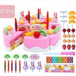 37pcs Pretend Role Play Kitchen Toy Happy Birthday Cake Food Cutting Set Kids