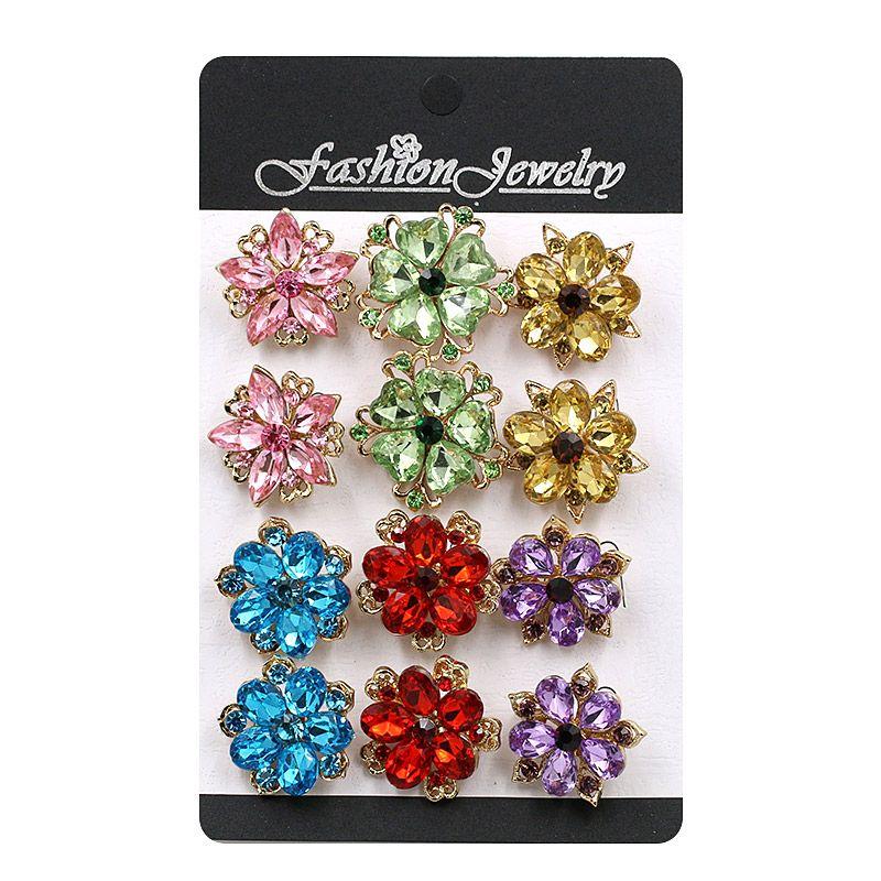 Pack de 12 unidades de Acrílico Hermosa Pequeña Flor Broches o Cuello/Insignias de Solapa para Mujer en 3 Colores Surtidos