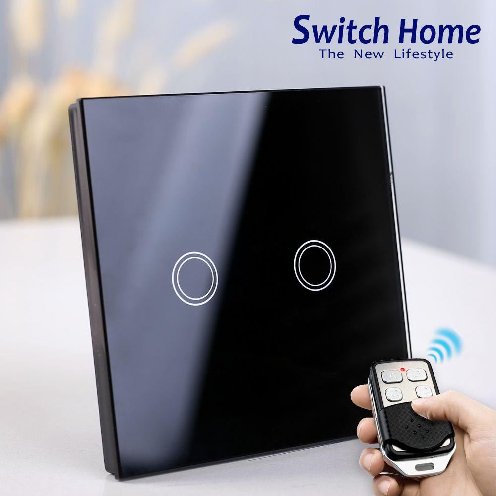 2 Gang remote control light Switch, black Glass Wireless remote control Switch, EU wall light switch touch remote control switch