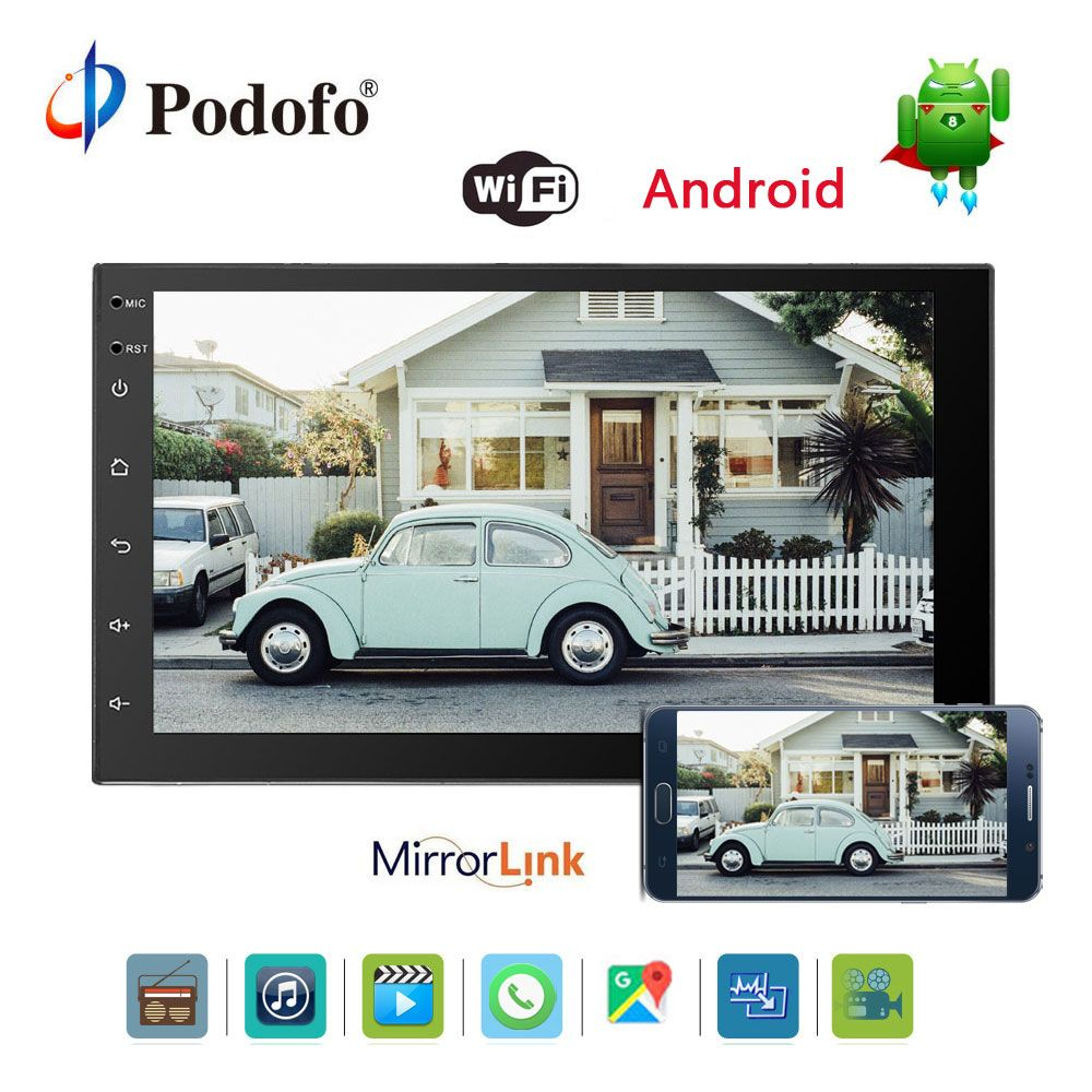Podofo 7'' 2 din Car Radio Car Multimedia Player Android 6.0 Bluetooth GPS Navigation In Dash WIFI Mirror Link USB Audio Player