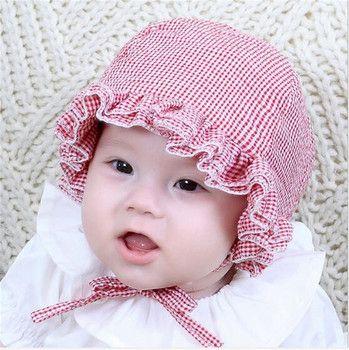New Plaid Baby Soft Cotton Sun Cap Girls Hat