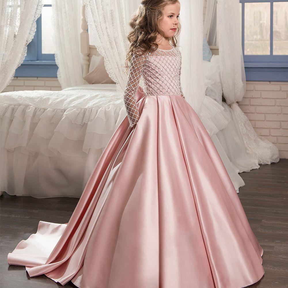 Новый длинным рукавом платье для первого причастия с круглым вырезом с бантом на поясе Платья для девочек на свадьбу Бальные платья индивид...