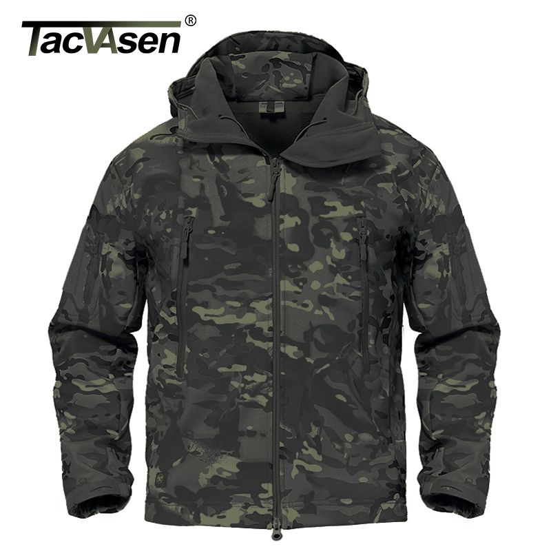 TACVASEN Army Camouflage Men Jacket Coat Black CP Military Tactical Jacket Winter Hunt Waterproof Soft Shell Jacket TD-ADL-001