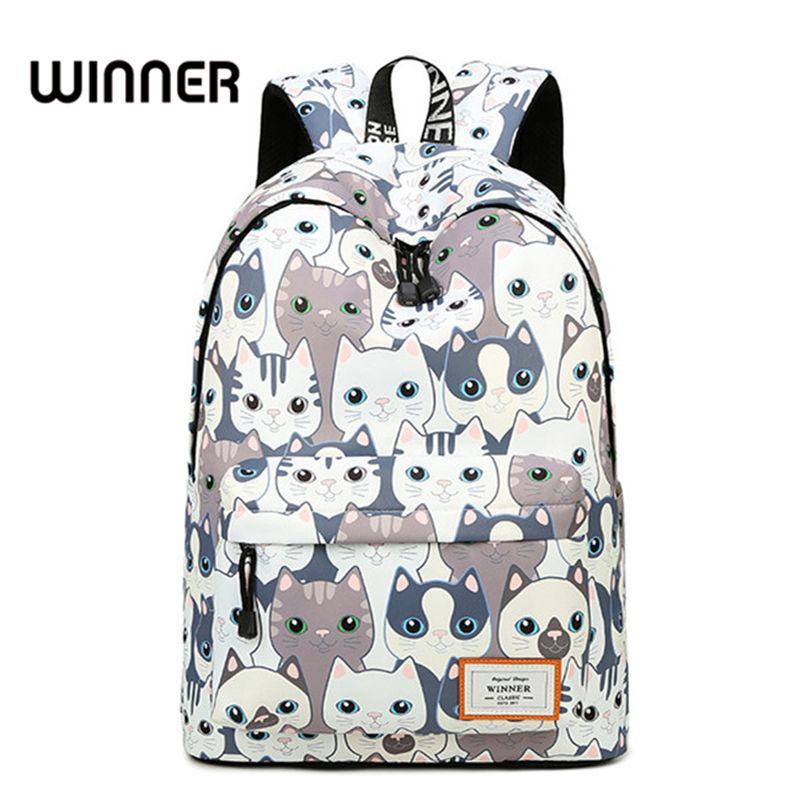 Waterproof Cat Printing Backpack Women School Students Back Pack Female 14-15.6 Inch Laptop Cute Book Bag for Girls