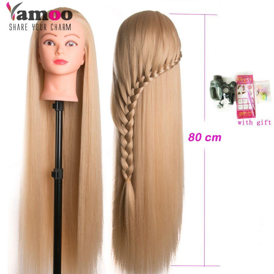 Tête poupées pour coiffeurs 80cm cheveux synthétique mannequin tête coiffures femme Mannequin coiffure coiffure tête d'entraînement