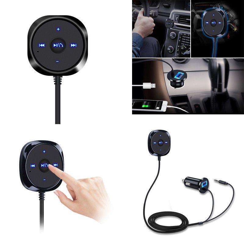Démarrer Siri sans fil Bluetooth voiture kit mains libres 3.5mm AUX Audio récepteur de musique lecteur mains libres haut-parleur 2.1A USB chargeur de voiture rc