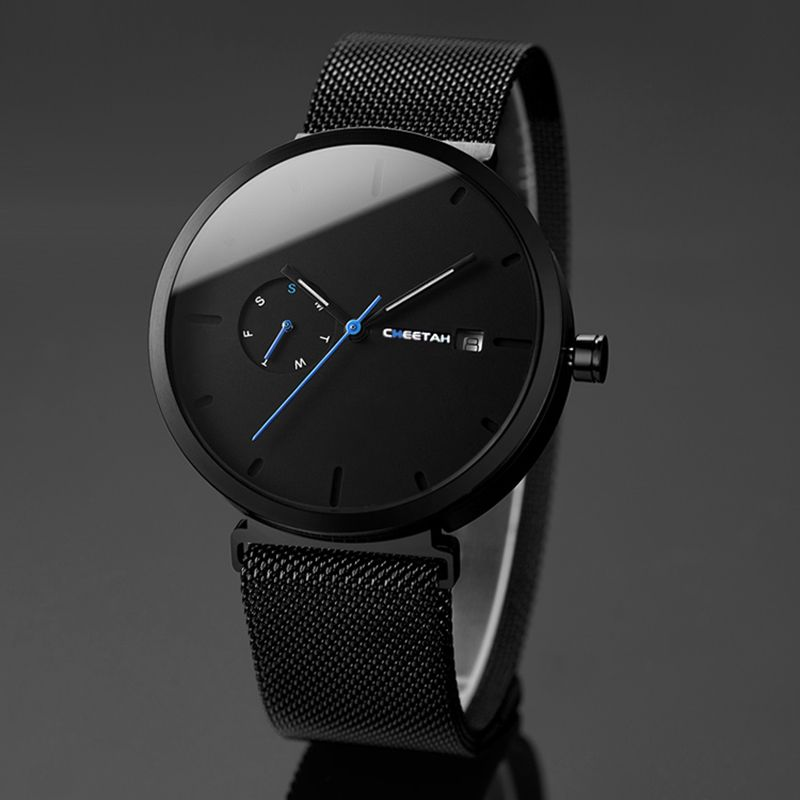 2018 New Fashion Simple Men Watch Waterproof Blue Point Casual Quartz Watches Men Date Week Analog Wristwatch Relogio Masculino