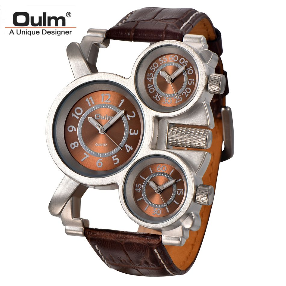 Oulm Mens Watches Top Brand Luxury <font><b>Famous</b></font> Tag Men's Military Wrist Watch 3 Time Zone Male Clock Leather Quartz Watch Man