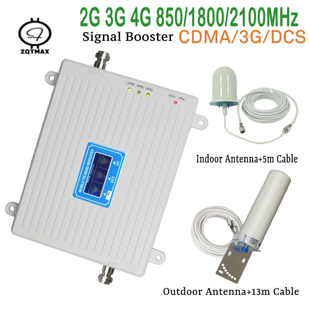 Smart tri band 2g 3g 4g mobile signal booster 850 1800 2100mhz handy signgal repeater verstärker mit LCD display kit