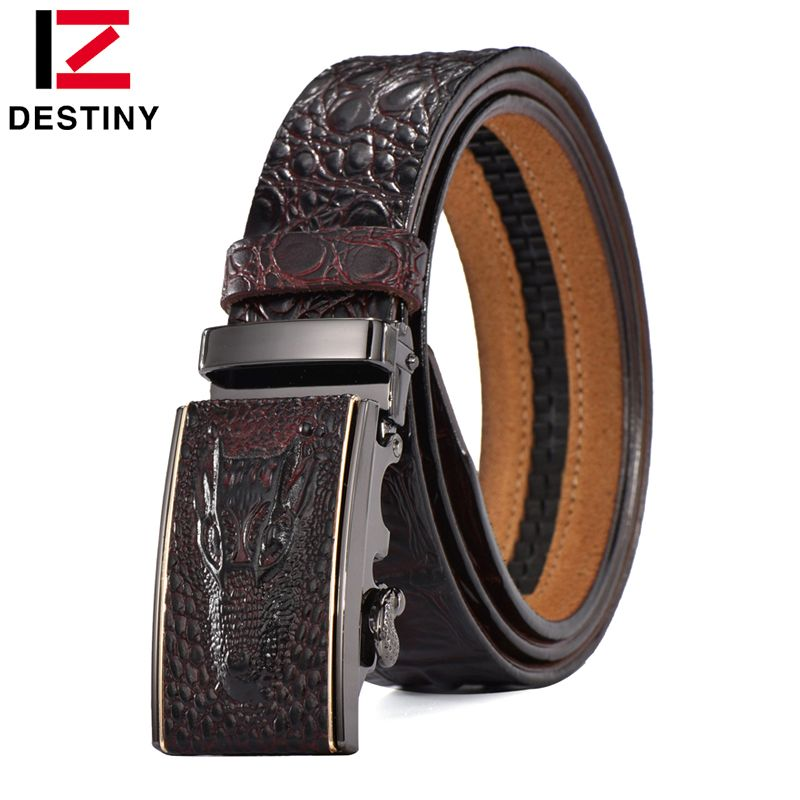 DESTINY Designer <font><b>Belts</b></font> Men High Quality Male Genuine Leather Strap Waist Crocodile Luxury Famous Brand Wedding Ceinture Homme