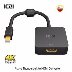 ICZI Thunderbolt Mini DP to HDMI Adapter 4K @60Hz Mini Displayport 1.2 to HDMI 2.0 Converter for Macbook Surfacebook Black