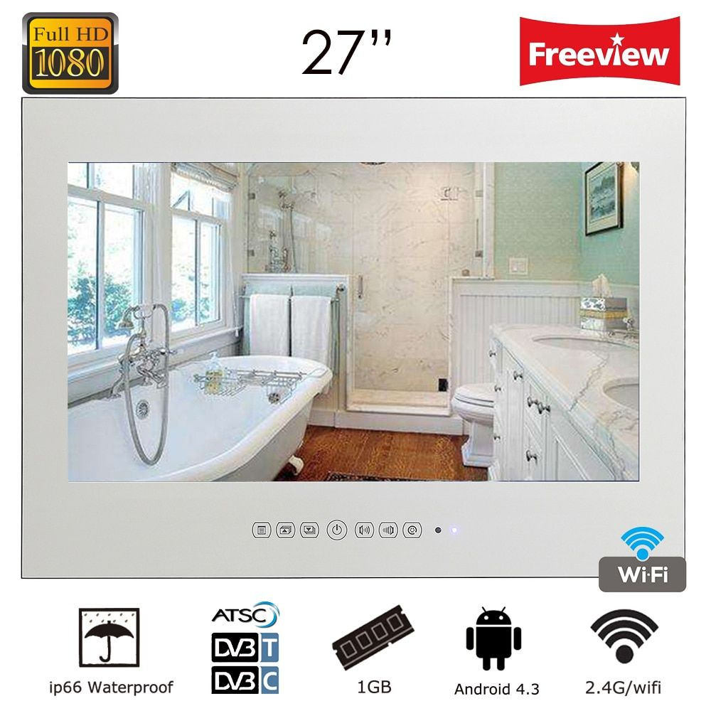 Souria New Design 27 inch Waterproof Android Smart Vanishing Magic Mirror TV with LAN WiFi Built-in Speakers Hotel Television
