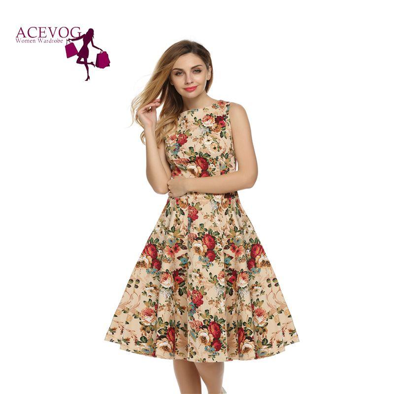 ACEVOG femmes Robe rétro Vintage 1950 s 60 s Rockabilly Floral Swing robes d'été élégant nœud papillon tunique robes Oversize
