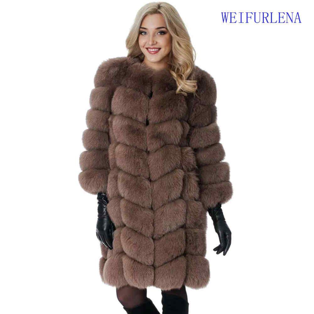 2017 90 cm Marke Top Qualität Natürliche Pelzmantel Echt Arktischen Fuchs Weste Damen Abnehmbare Frauen Dicken Design Winter Transformator mantel