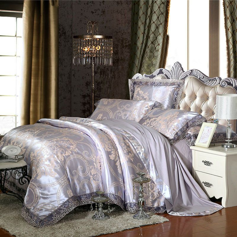 noble royal style print gray silver duvet cover set lace border linens silk cotton jacquard Queen/King size 4/6pcs bedding sets