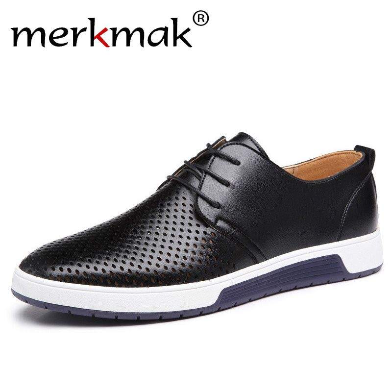 Merkmak nouveau 2019 hommes chaussures décontractées en cuir été respirant trous luxe marque chaussures plates pour hommes livraison directe