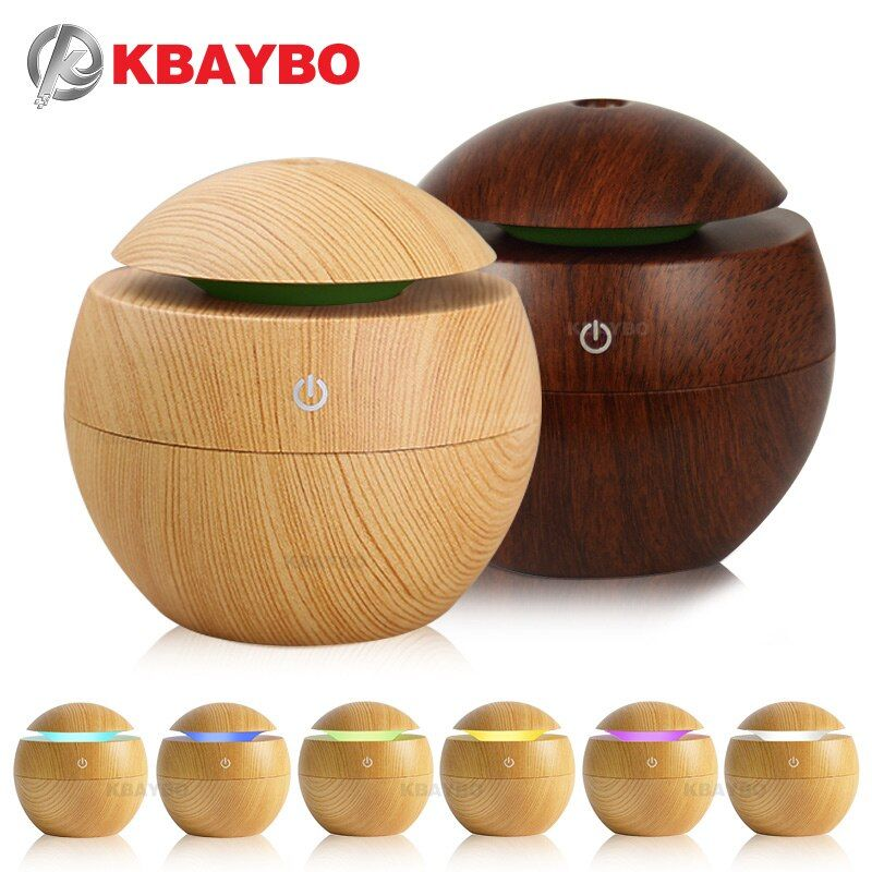 USB Aroma Essential Oil Diffuser Ultrasonic Cool Mist Humidifier Air Purifier 7 <font><b>Color</b></font> Change LED Night light for Office Home