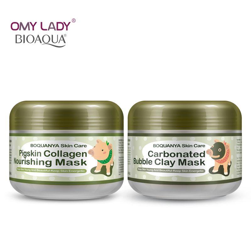 2PCS/Lot BIOAQUA Carbonated Bubble Clay Mask Pigskin Collagen Nourishing Mask Blackhead Remove Clean face Dirt Moisturizing Skin