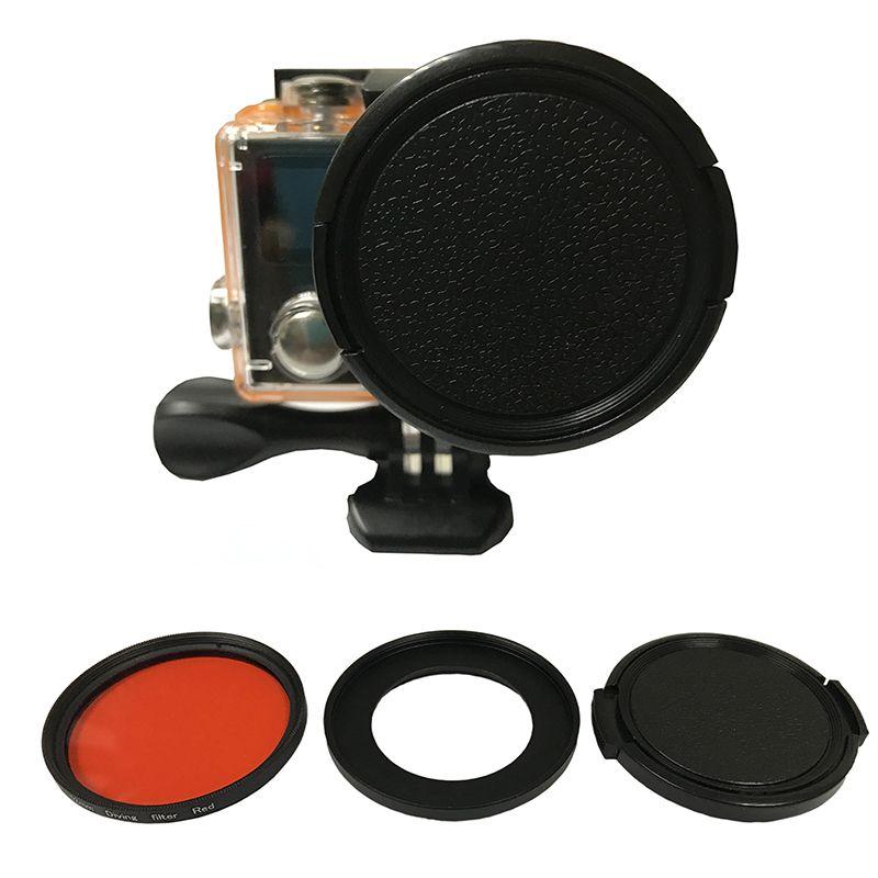 Tekcam pour Eken Accessoires Rouge Plongée filtre pour Eken H9 H9R h9pro H9SE H9R SE H8PRO H8SE H8 H8R H3 h3R V8S Eken Accessoires