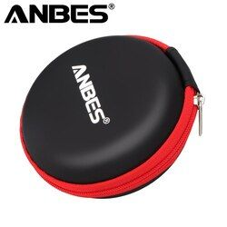 ANBES Case for Earphones Mini Zippered Round Storage Hard Bag Headset box for Earphone Case SD TF Cards Earphone Bag