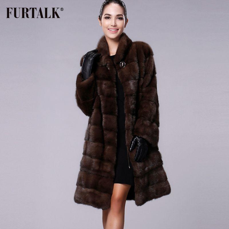 FURTALK Reale Natürliche Nerz Pelzmantel Frauen Winter Lange Nerz Pelzmantel Pelz Jacke für Weibliche Hohe qualität Pelz Kleidung nach Größe