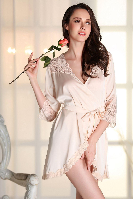 Kimonos Women Sexy Nightwear Faux Silk Robe With Sashes Lace Splicing Satin Bathrobe For Ladies Nightwear Robes Sleepwear