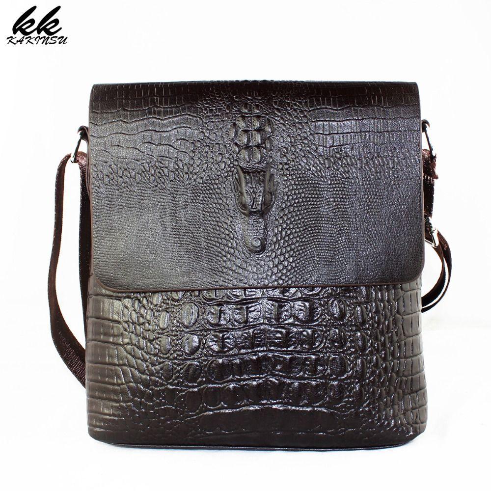Luxury Embossed Alligator <font><b>Pattern</b></font> crossbody Men Design High Quality Messenger Bag Male Business Shoulder Leather Travel Flap Bag