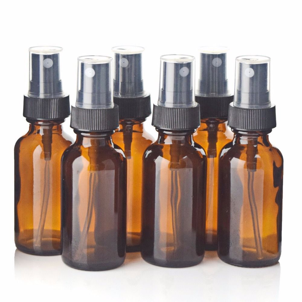 6pcs 1Oz 30ml Amber Glass Spray Bottle w/ Black Fine Mist Sprayer refillable essential oil bottles empty cosmetic containers