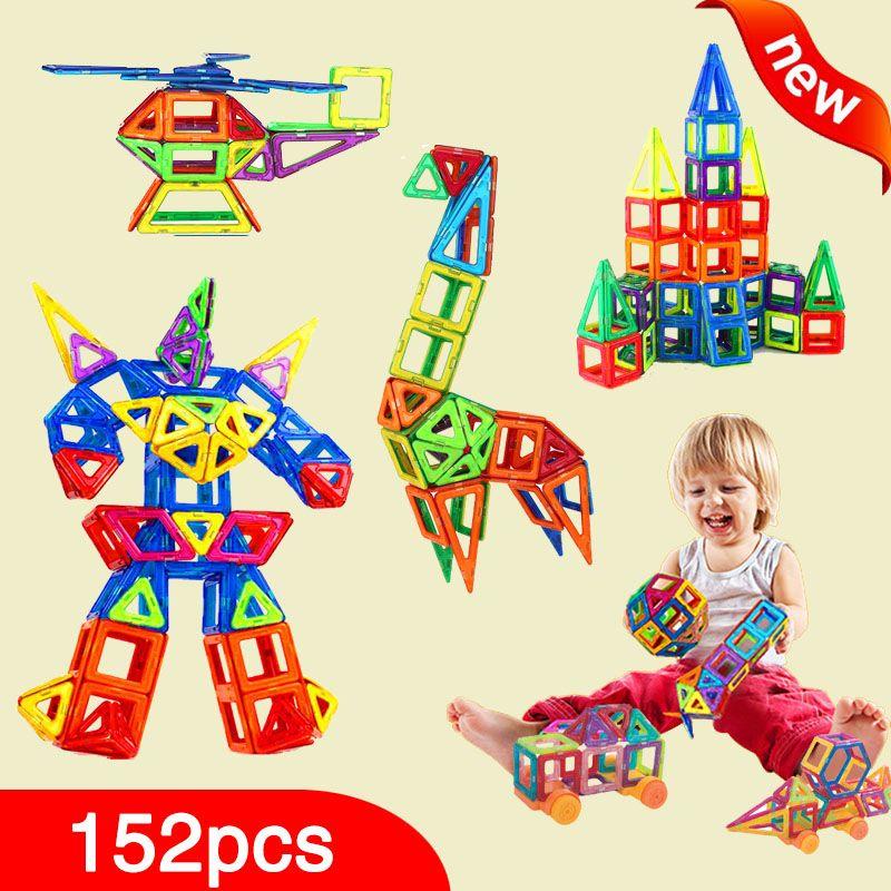 New 152pcs Mini Magnetic Designer Construction Set Model & Building Toy Plastic Magnetic Blocks Educational Toys For Kids Gift