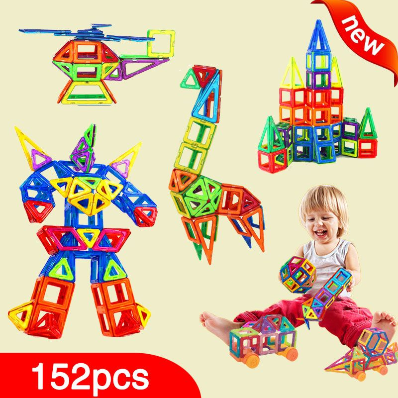 New 152pcs Mini Magnetic Designer Construction Set Model & Building Toy Plastic Magnetic Blocks Educational Toys For Kids Gift