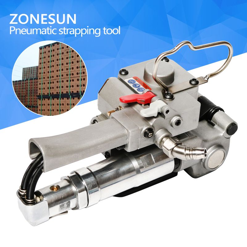 ZONESUN NEW PNEUMATIC PET/PLASTIC/PP STRAPPING TOOL XQD-19PET STRAPPING MACHINE FOR 12-19MM(TENSION>=3000N)