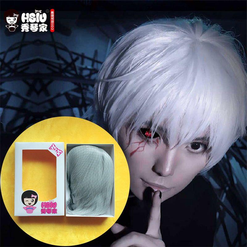 Сю высокое качество Токио вурдалак Косплэй парик Кен kaneki костюм Play Искусственные парики Halloween Party Аниме игры волос 30 см серебро парик