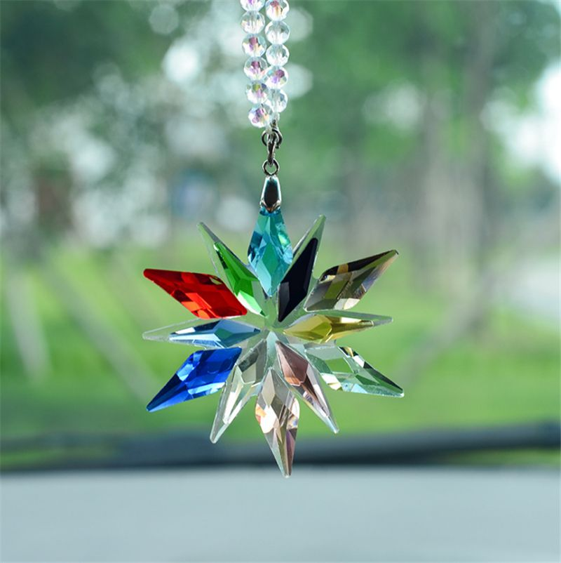 Car Mirror Charms Interior Accessories With The Cars Furnishing Colorful Crystals Car Pendant Transparent Crystal Christmas gift