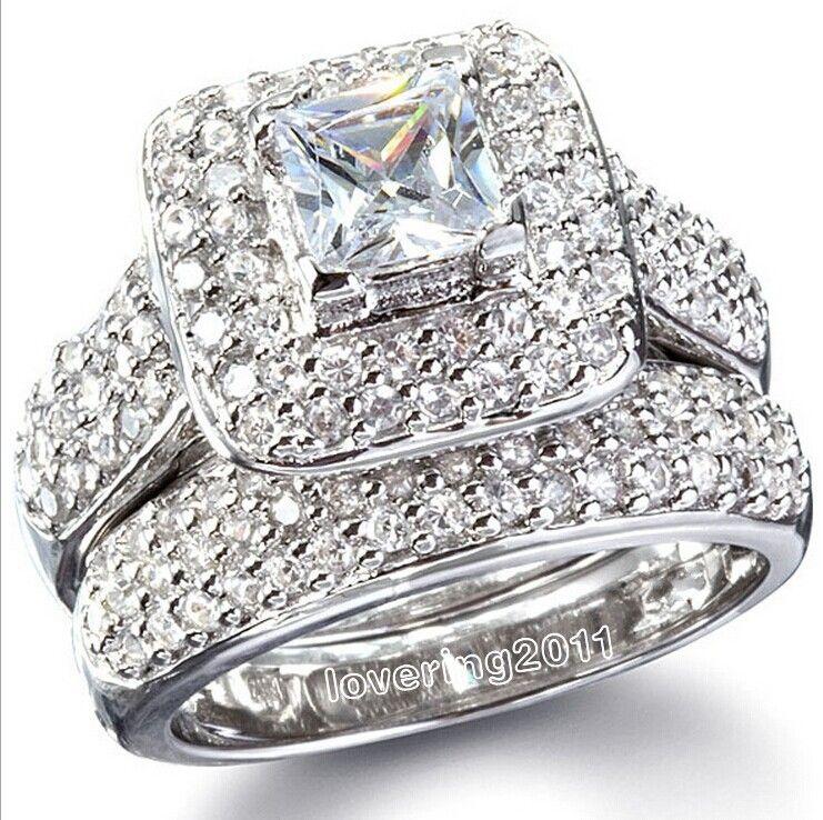 choucong Majestic Sensation 134Pcs Stone 5A Zircon stone 14KT White Gold GF Wedding Band Ring Set Sz 5-11 Free shipping