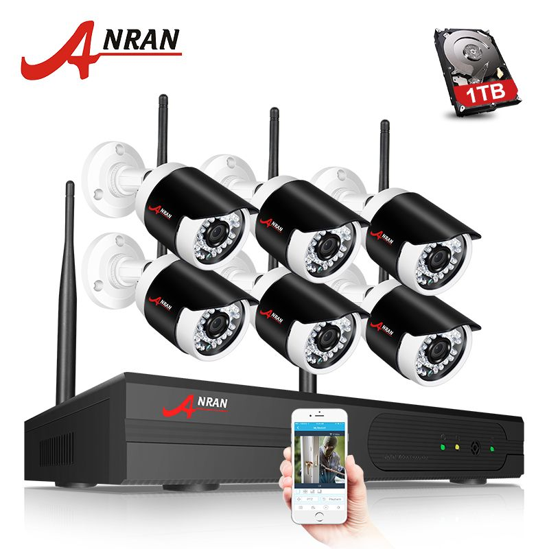 ANRAN Security Came system Wifi 8CH NVR 6pcs 960P Surveilcance Camera Outdoor IR Night Vision Security Camera Kit 1TB HDD