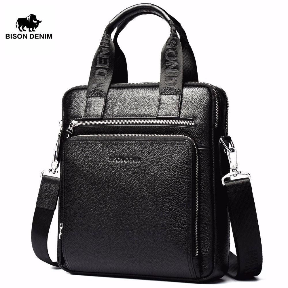 BISON DENIM Echtem Leder Garantie männer Aktentasche Business Handtasche Hohe Qualität Messenger ipad Laptop-tasche männer N2333-2