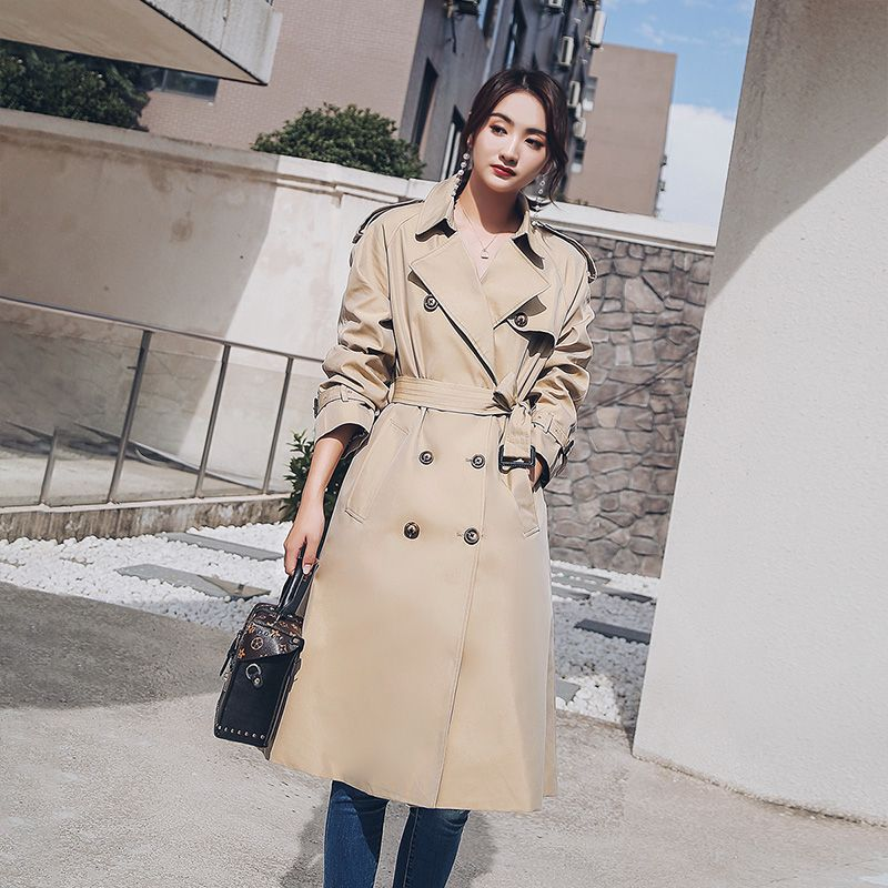 Dabuwawa Khaki Autumn Trench Highstreet Workwear Double Breasted Belted Long Coat New Elegant Women Outerwear 2018