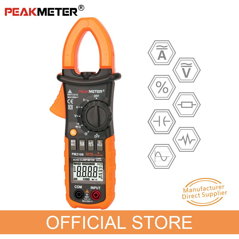 PEAKMETER PM2108 6600 counts AC DC Mini Digital Clamp True RMS IN RUSH Current Resistance Capacitance Frequency Clamp Meter