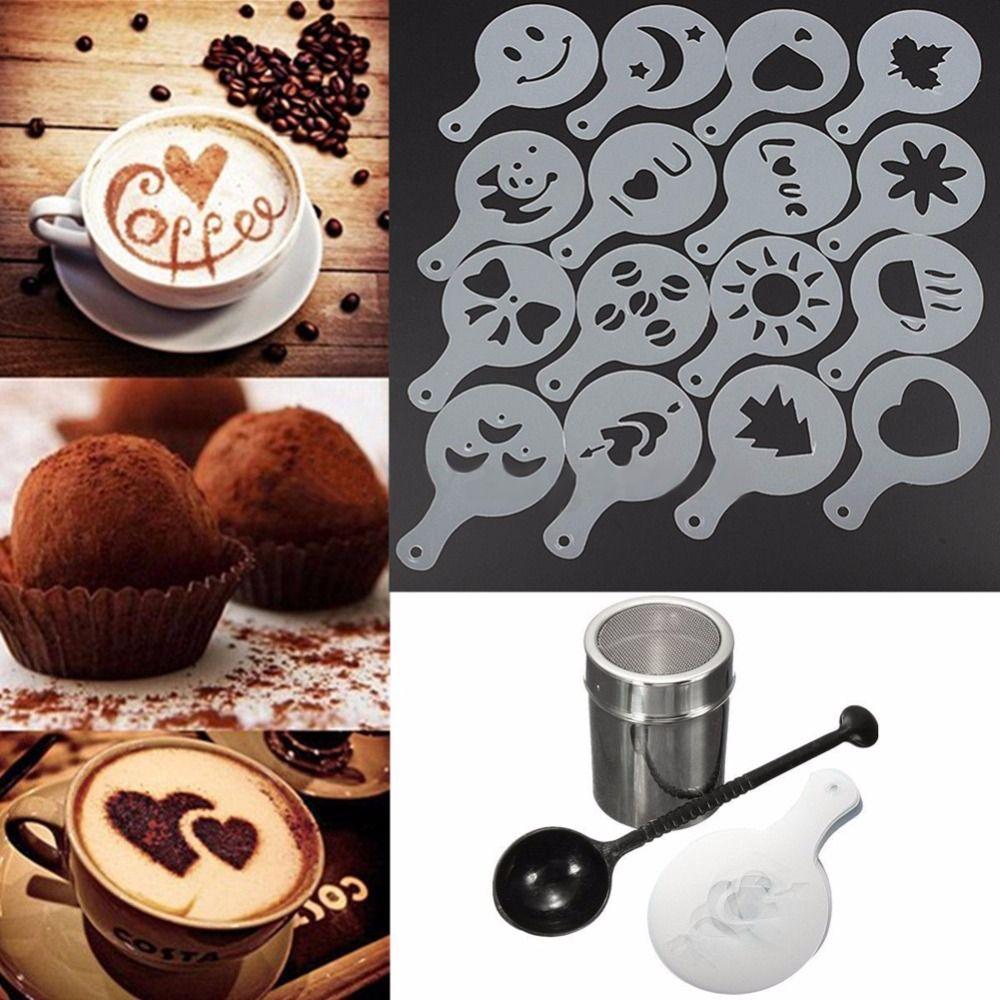 Нержавеющаясталь Шоколад шейкер Duster + 16 шт. капучино Кофе Трафареты + мерная ложка Кофе Чай Инструменты